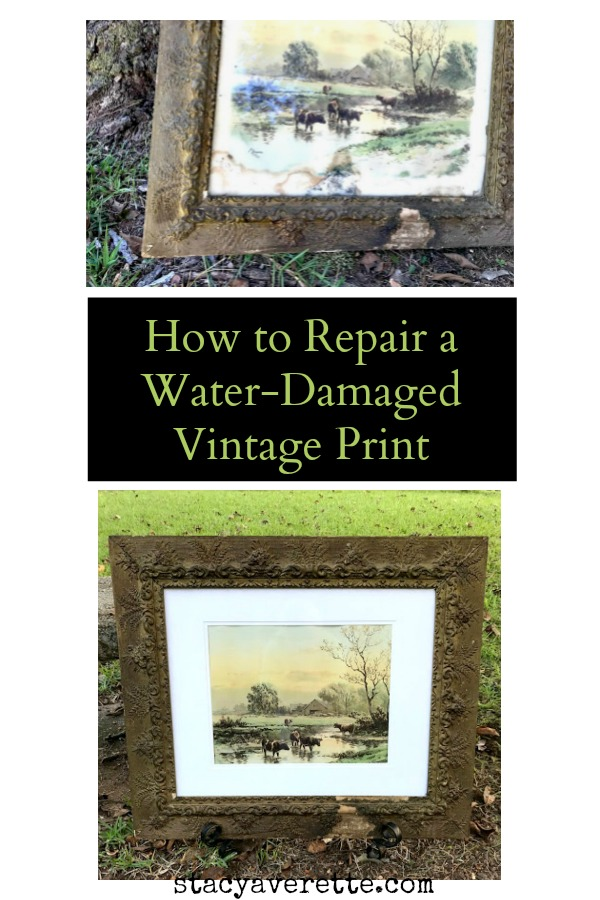 Here's a simple, cheap fix  for water damaged prints! #vintagehome #thriftydecor #faithfamilyhome